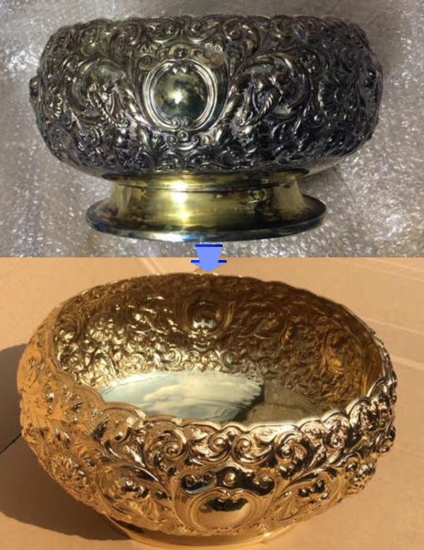 骨董品の再生メッキ